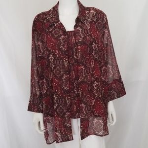 Red Burgundy 2pc Blouse